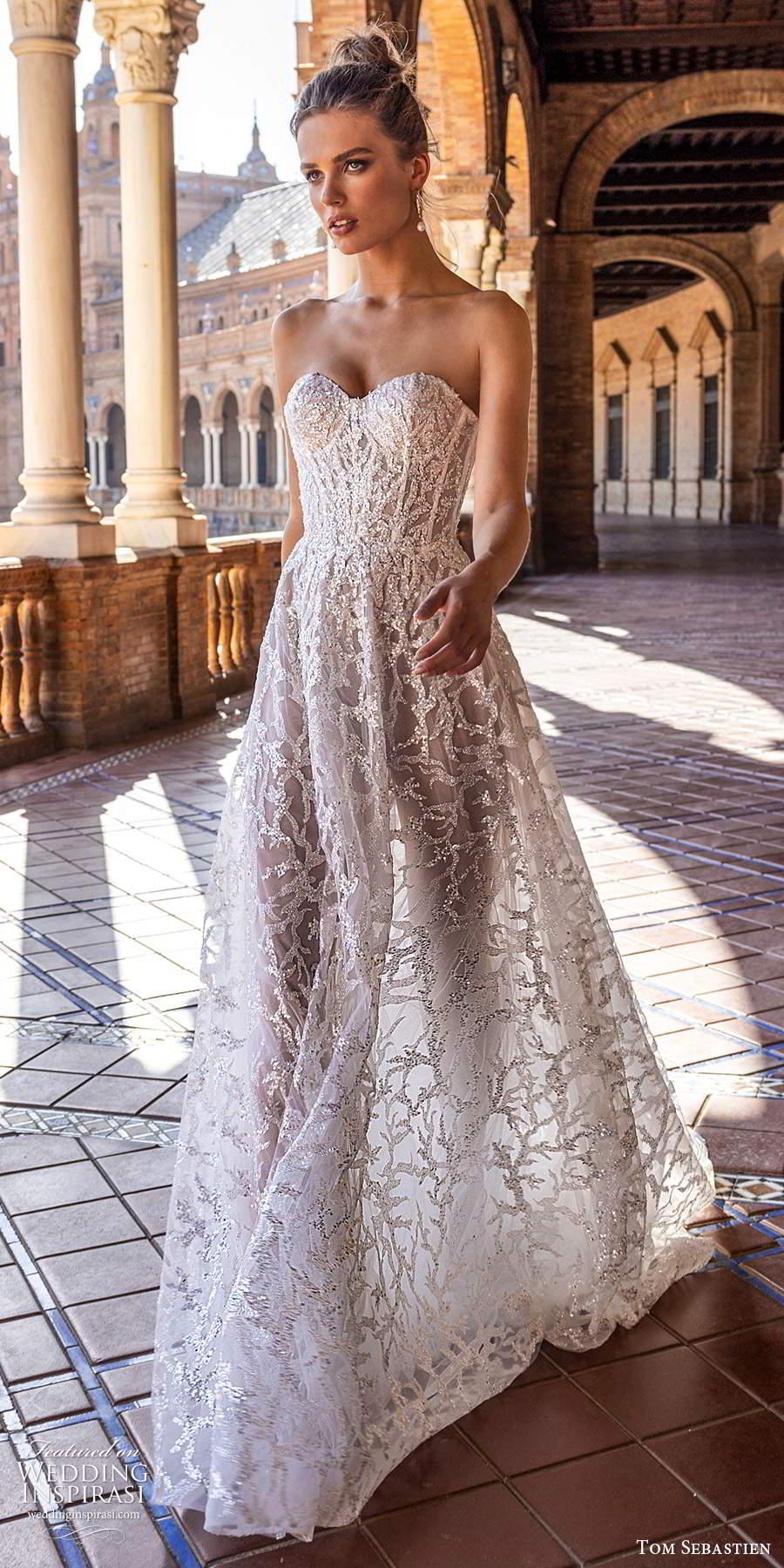 tom sebastien 2021 bridal strapless sweetheart neckline fully embellished a line ball gown wedding dress chapel train (2) mv