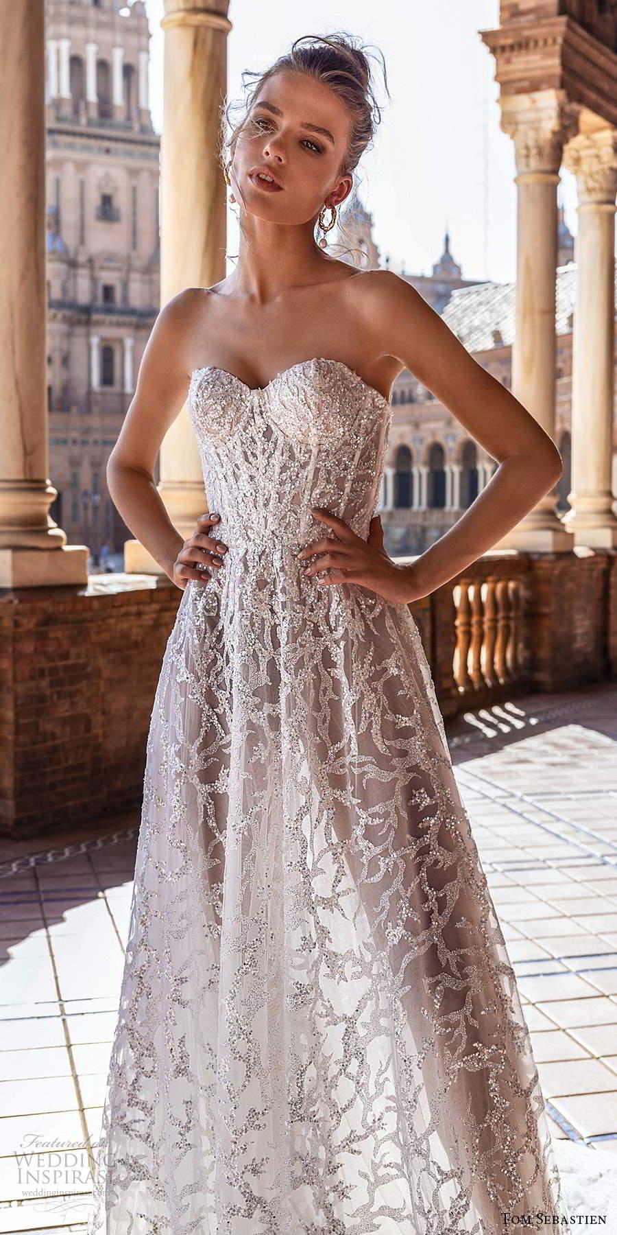 tom sebastien 2021 bridal strapless sweetheart neckline fully embellished a line ball gown wedding dress chapel train (2) zv