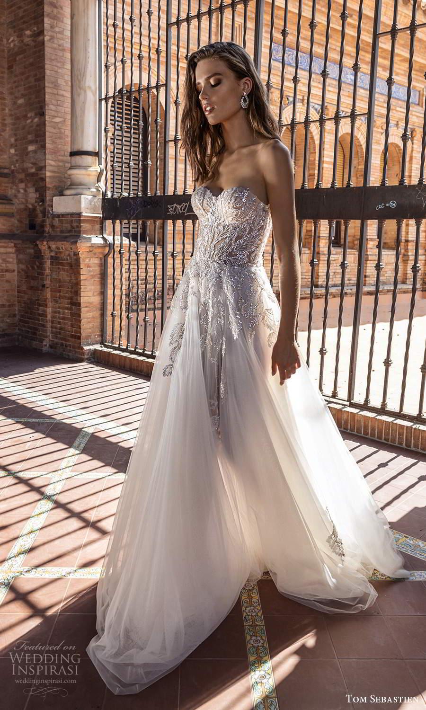 tom sebastien 2021 bridal strapless sweetheart neckline heavily embellished bodice a line ball gown wedding dress chapel train (14) mv