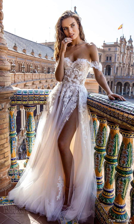 tom sebastien 2021 bridal strapless sweetheart neckline heavily embellished bodice a line ball gown wedding dress slit skirt chapel train (1) mv