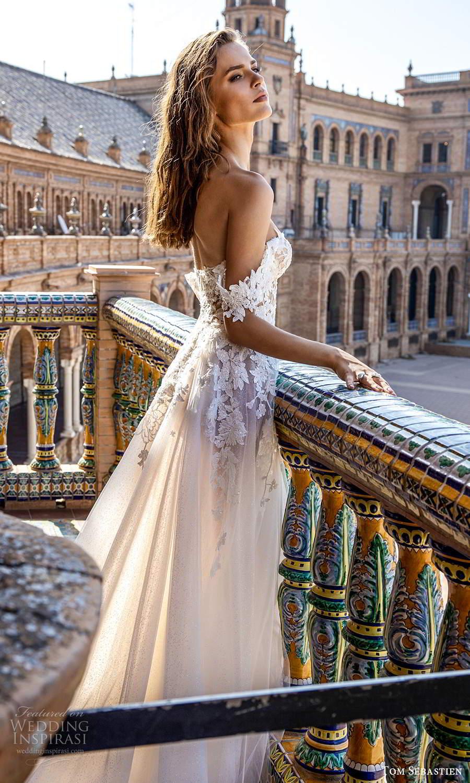tom sebastien 2021 bridal strapless sweetheart neckline heavily embellished bodice a line ball gown wedding dress slit skirt chapel train (1) zsv