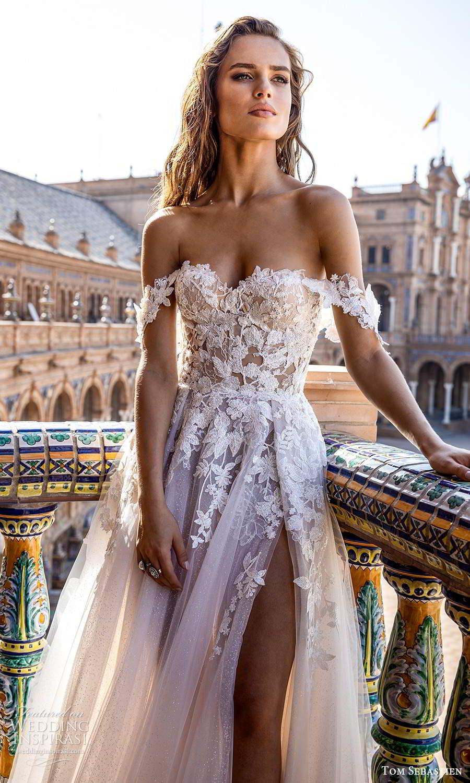 tom sebastien 2021 bridal strapless sweetheart neckline heavily embellished bodice a line ball gown wedding dress slit skirt chapel train (1) zv