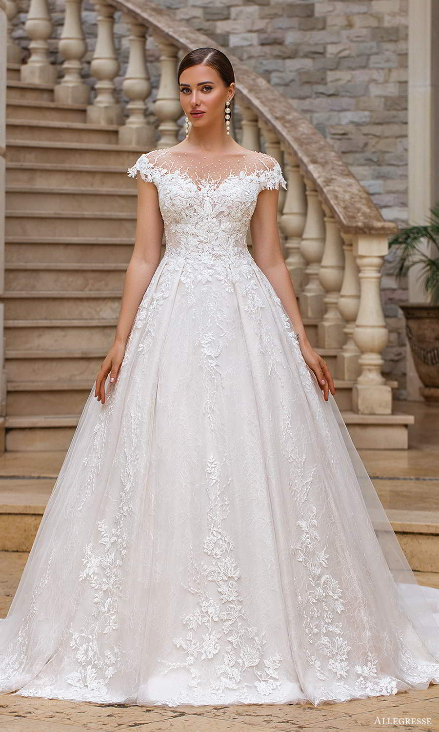 allegresse 2021 bridal cap sleeves off shoulder sweetheart neckline fully embellished a line ball gown wedding dress chapel train (16) mv