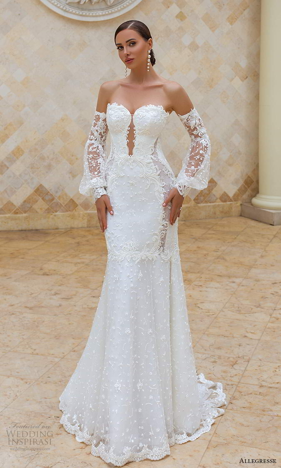 allegresse 2021 bridal detached bishop sleeves strapless plunging sweetheart neckline fully embellished fit flare mermaid wedding dress chapel train (12) mv