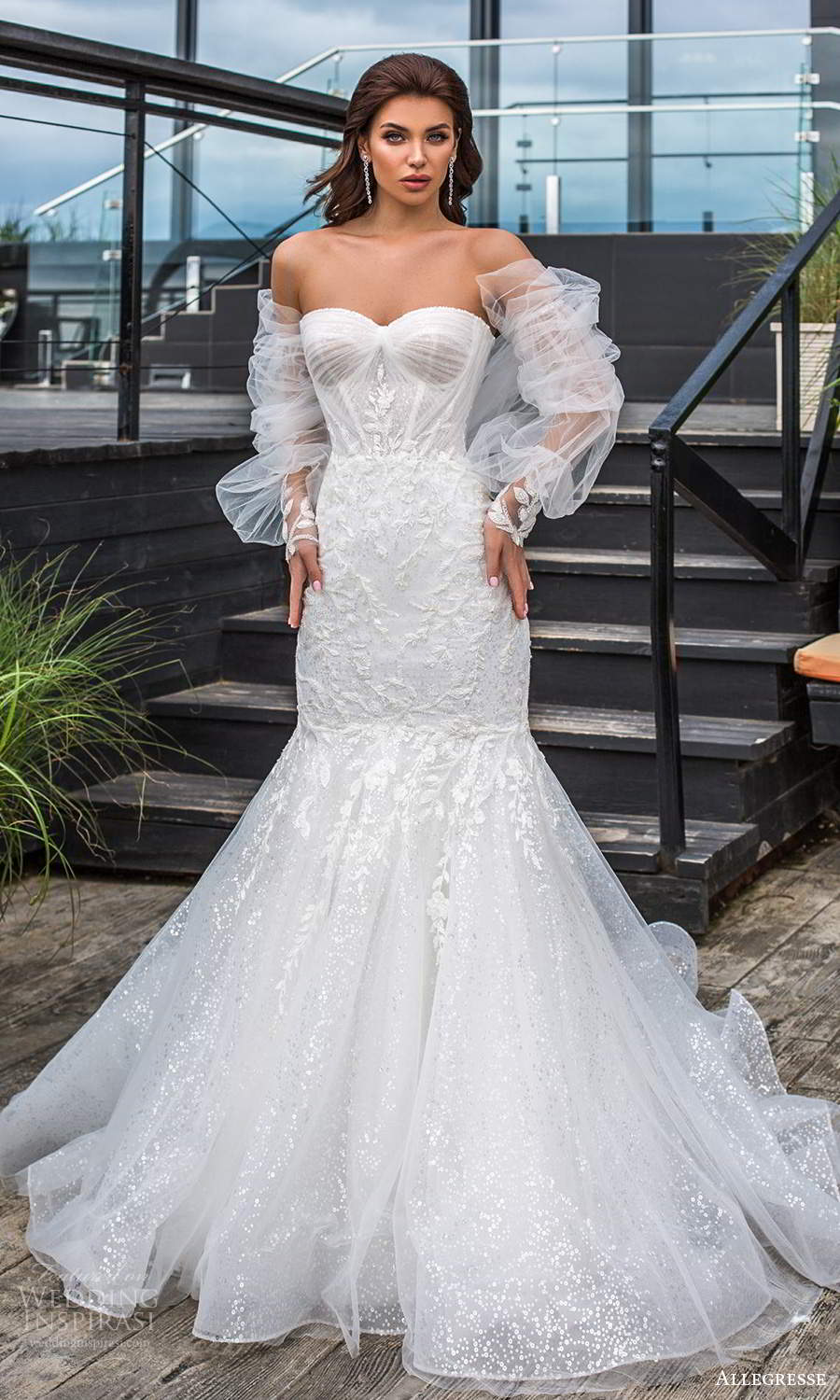 allegresse 2021 bridal detached bishop sleeves strapless sweetheart neckline fully embellished fit flare wedding dress chapel train (4) mv