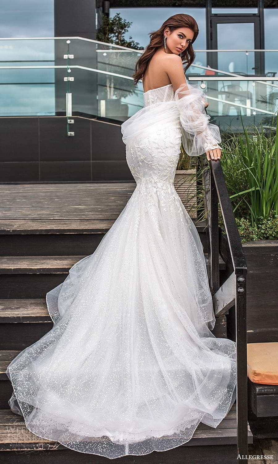 allegresse 2021 bridal detached bishop sleeves strapless sweetheart neckline fully embellished fit flare wedding dress chapel train (4) sv