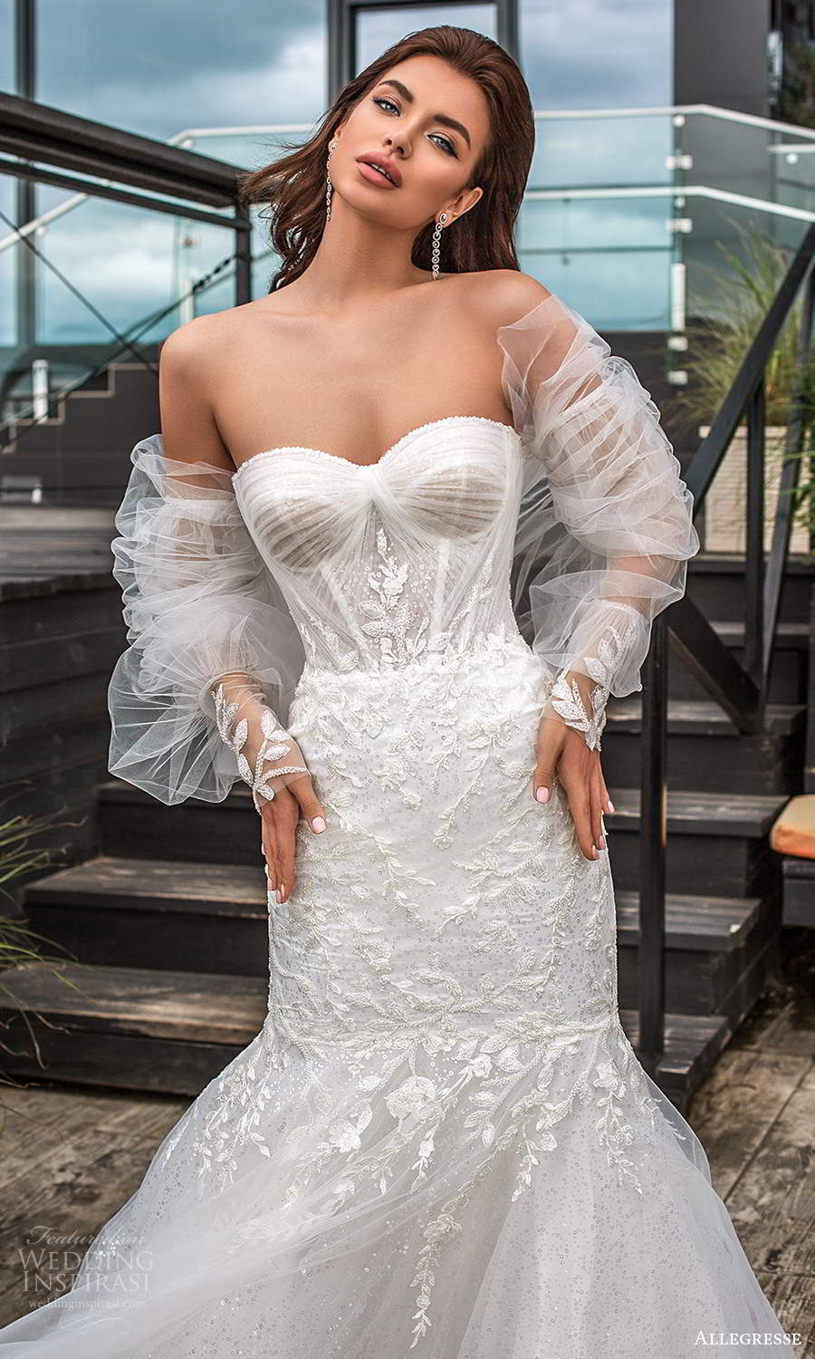 allegresse 2021 bridal detached bishop sleeves strapless sweetheart neckline fully embellished fit flare wedding dress chapel train (4) zv
