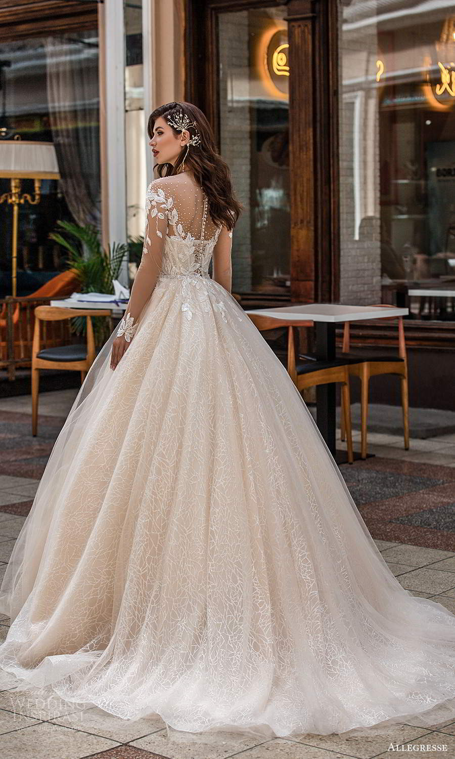 allegresse 2021 bridal illusion long sleeves off shoulder sweetheart neckline embellished bodice a line ball gown wedding dress chapel train blush champagne (9) bv