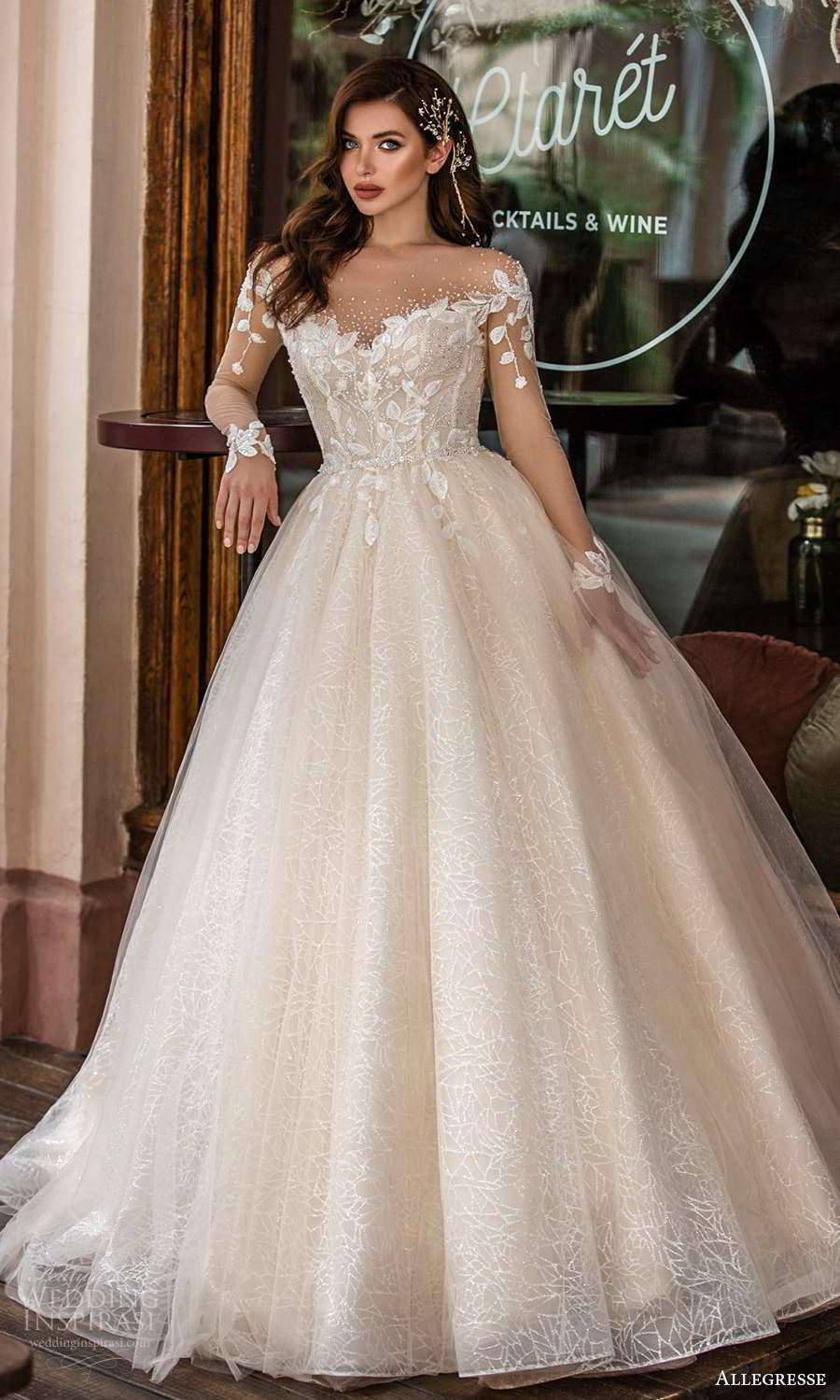 allegresse 2021 bridal illusion long sleeves off shoulder sweetheart neckline embellished bodice a line ball gown wedding dress chapel train blush champagne (9) mv