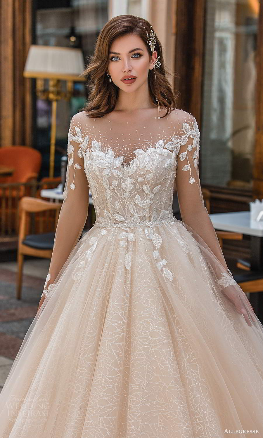 allegresse 2021 bridal illusion long sleeves off shoulder sweetheart neckline embellished bodice a line ball gown wedding dress chapel train blush champagne (9) zv