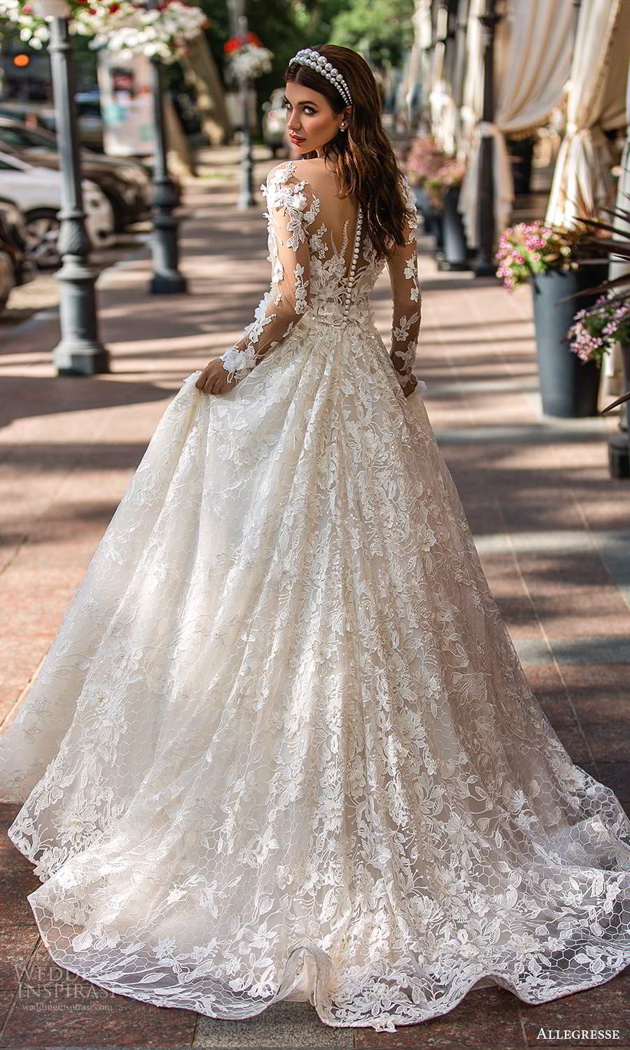 allegresse 2021 bridal illusion long sleeves off shoulder sweetheart neckline fully embellished a line ball gown wedding dress chapel train (5) bv