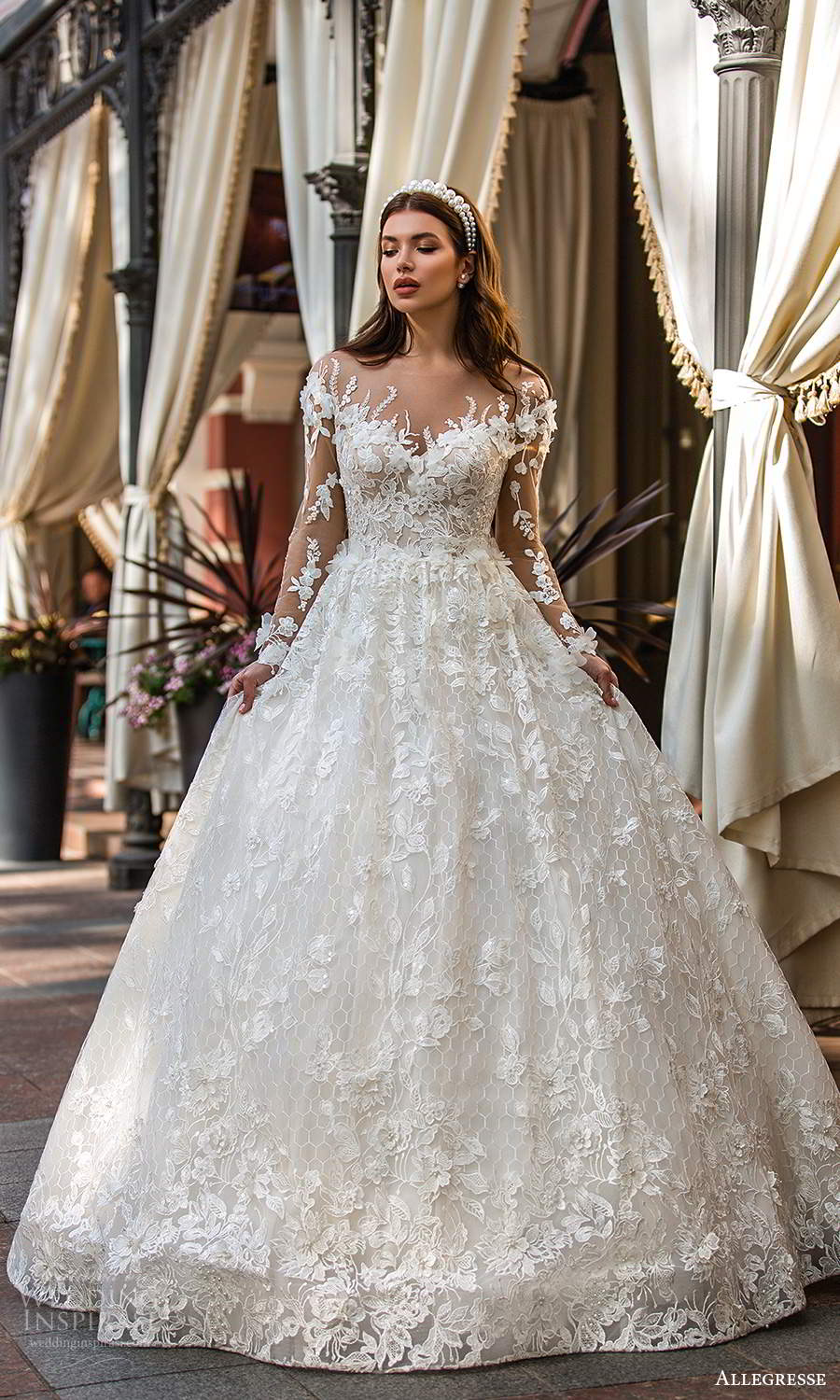 allegresse 2021 bridal illusion long sleeves off shoulder sweetheart neckline fully embellished a line ball gown wedding dress chapel train (5) mv