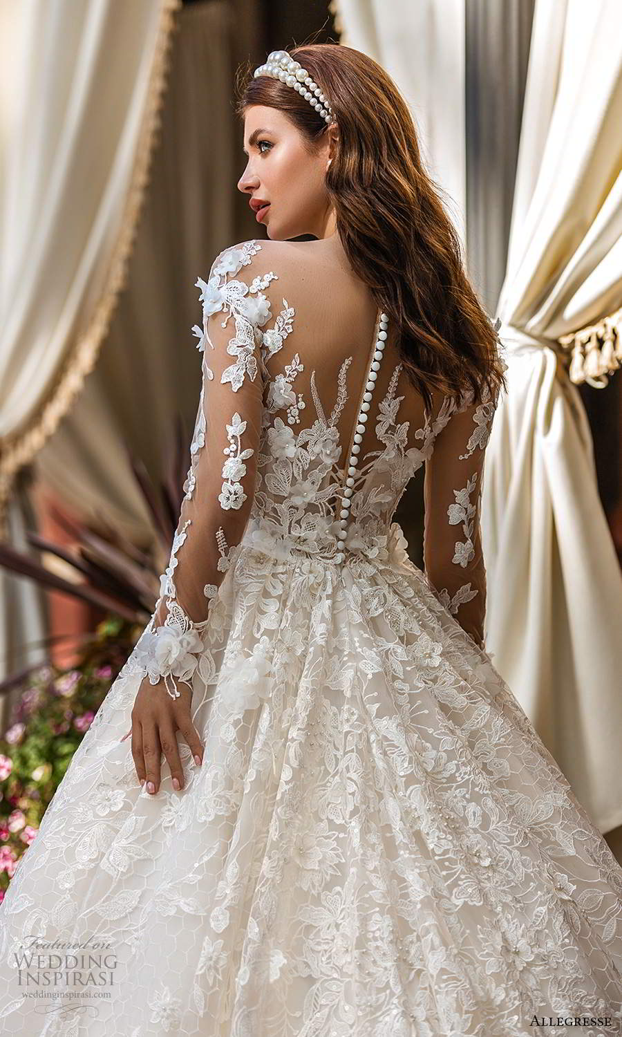allegresse 2021 bridal illusion long sleeves off shoulder sweetheart neckline fully embellished a line ball gown wedding dress chapel train (5) zbv