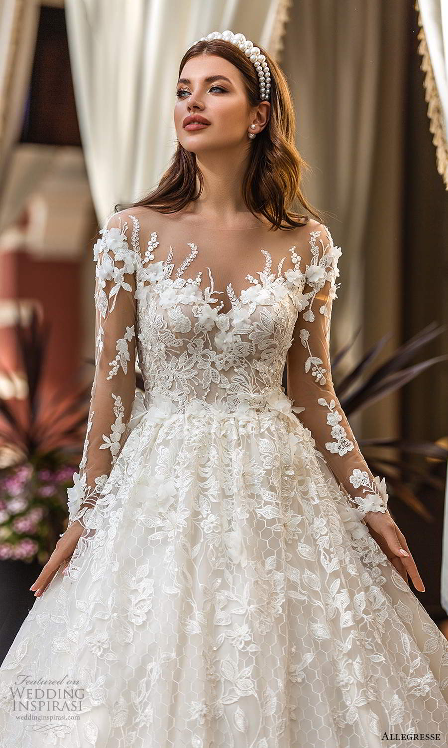 allegresse 2021 bridal illusion long sleeves off shoulder sweetheart neckline fully embellished a line ball gown wedding dress chapel train (5) zv
