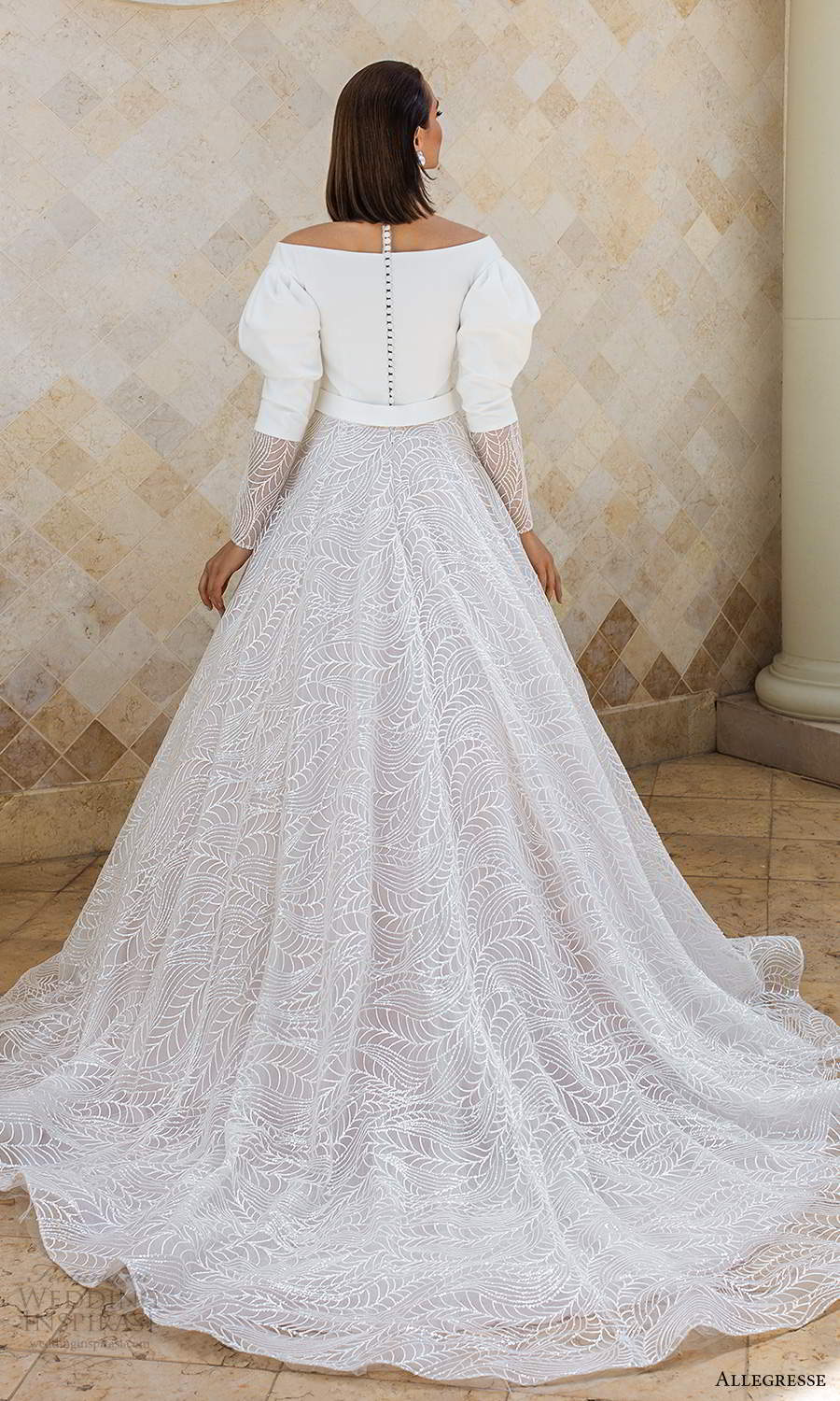 allegresse 2021 bridal long puff sleeves off shoulder v neckline clean bodice a line ball gown wedding dress chapel train (13) bv
