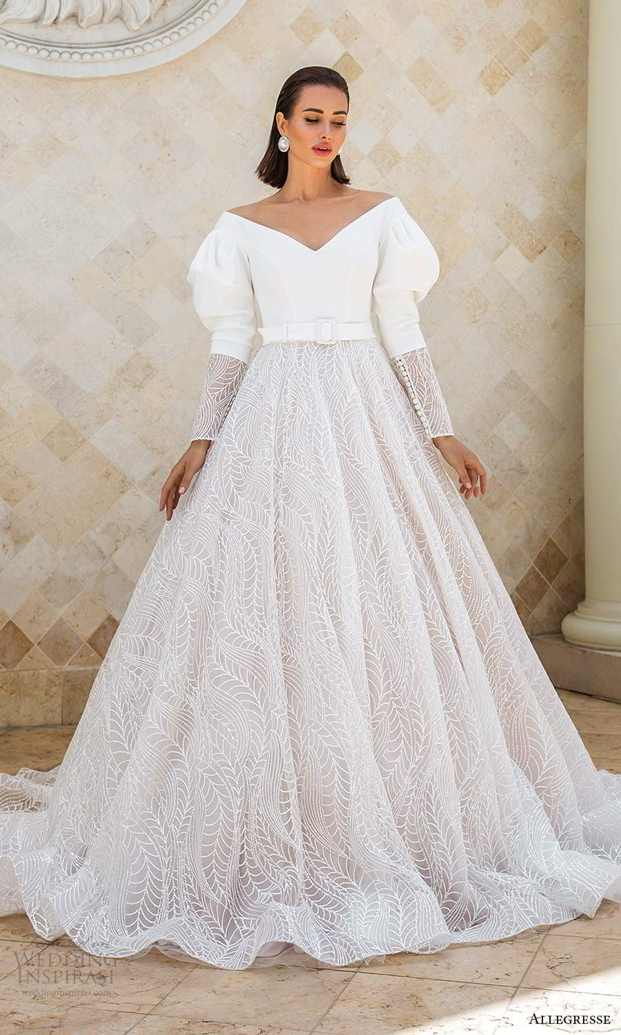 allegresse 2021 bridal long puff sleeves off shoulder v neckline clean bodice a line ball gown wedding dress chapel train (13) mv