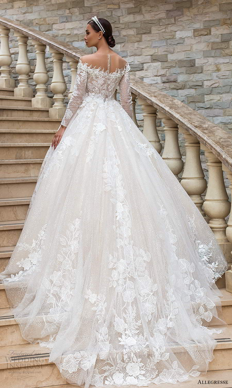 allegresse 2021 bridal long sleeves off shoulder neckline fully embellished a line ball gown princess wedding dress chapel train (14) bv