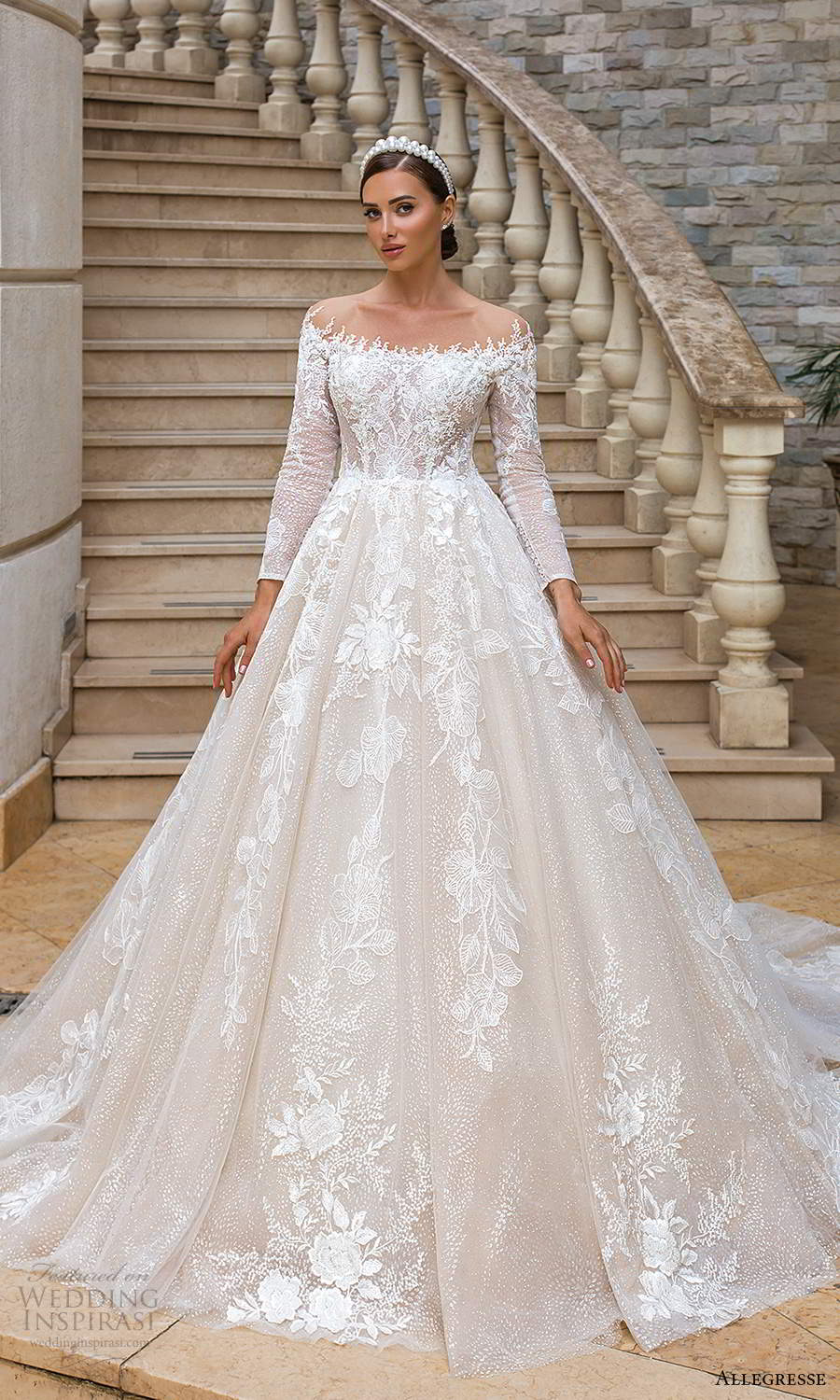 allegresse 2021 bridal long sleeves off shoulder neckline fully embellished a line ball gown princess wedding dress chapel train (14) mv