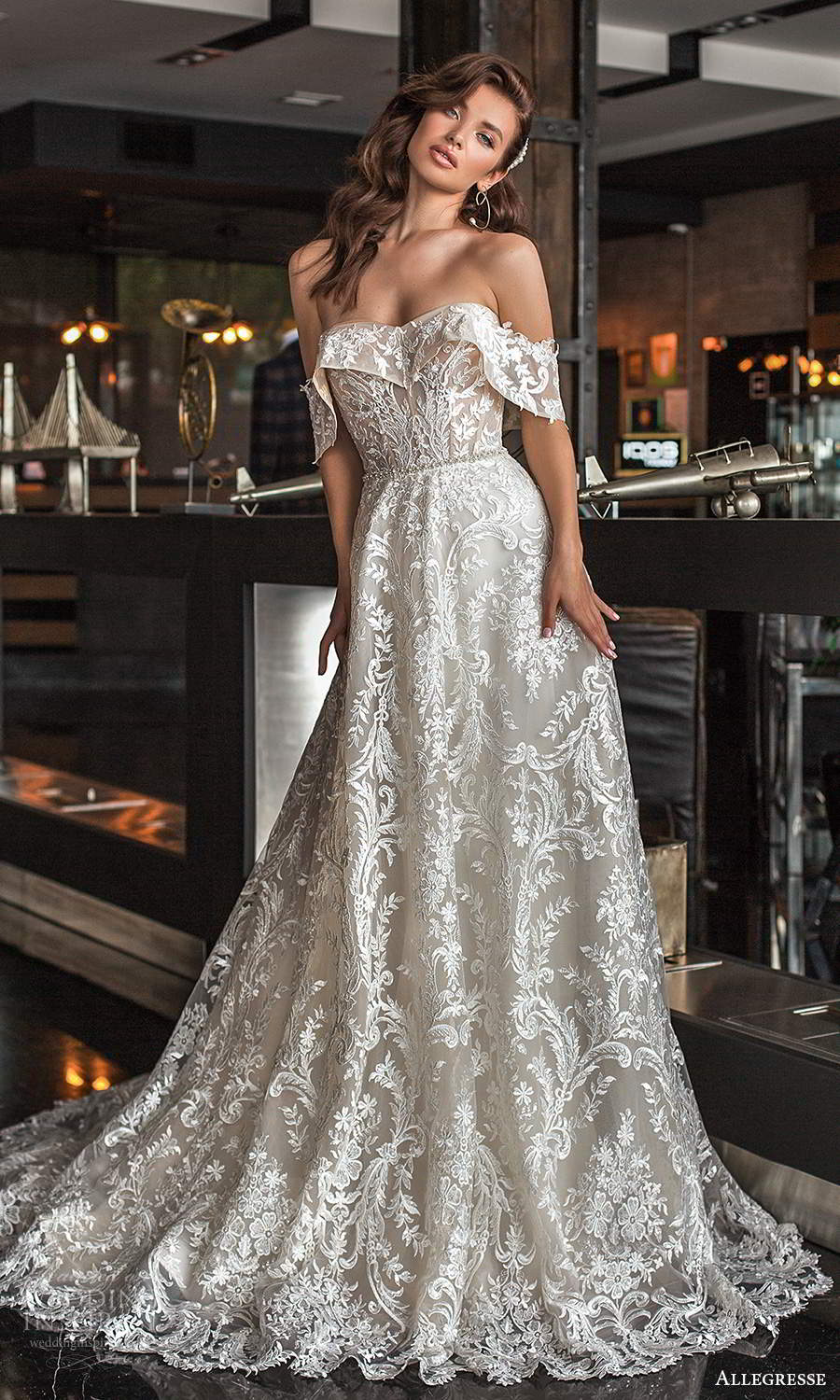 allegresse 2021 bridal off shoulder straps semi sweetheart foldover neckline fully embellished a line ball gown wedding dress chapel train (3) mv