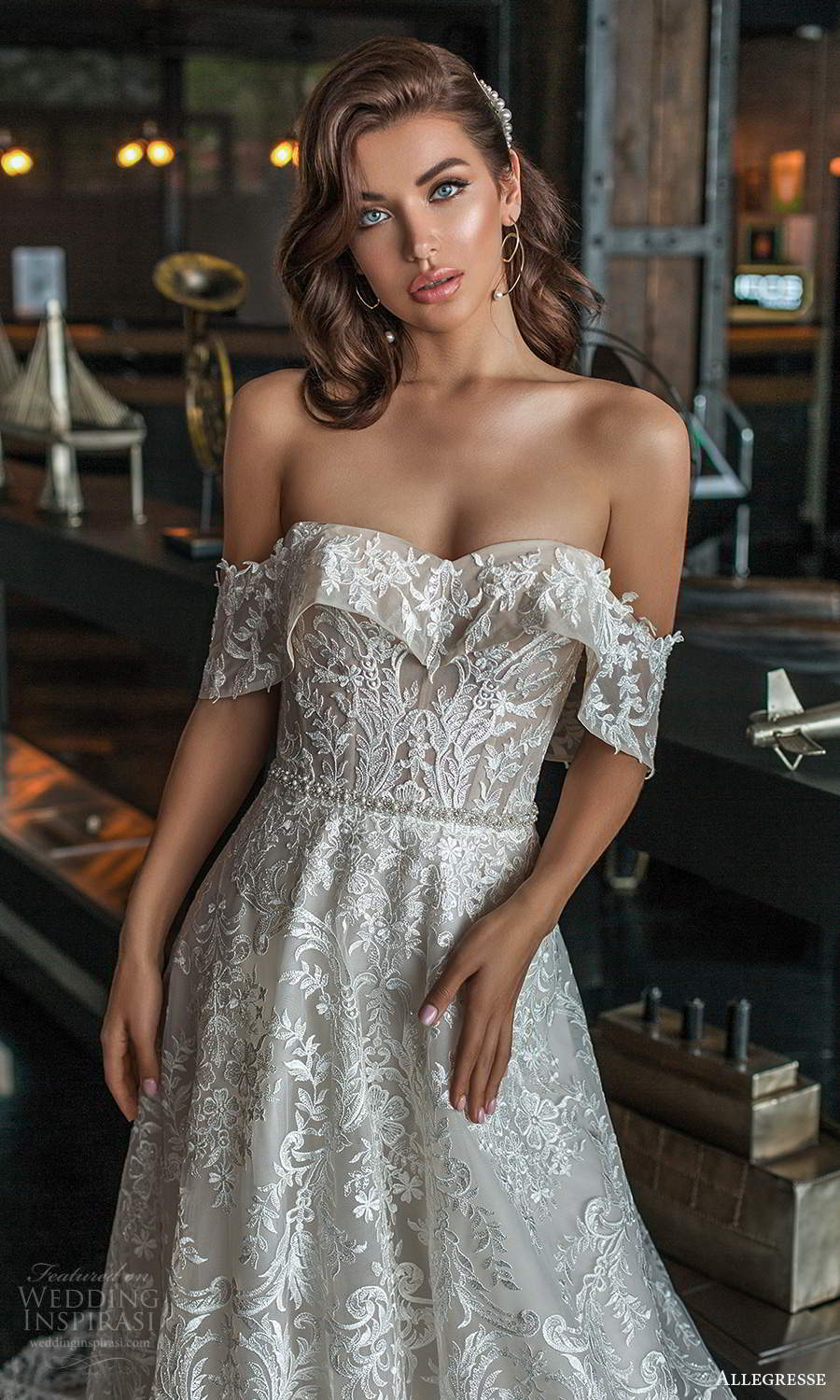 allegresse 2021 bridal off shoulder straps semi sweetheart foldover neckline fully embellished a line ball gown wedding dress chapel train (3) zv