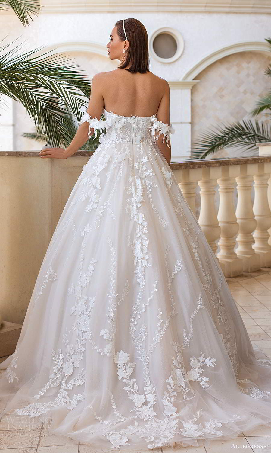allegresse 2021 bridal off shoulder straps sweetheart neckline fully embellished a line ball gown wedding dress chapel train (15) bv
