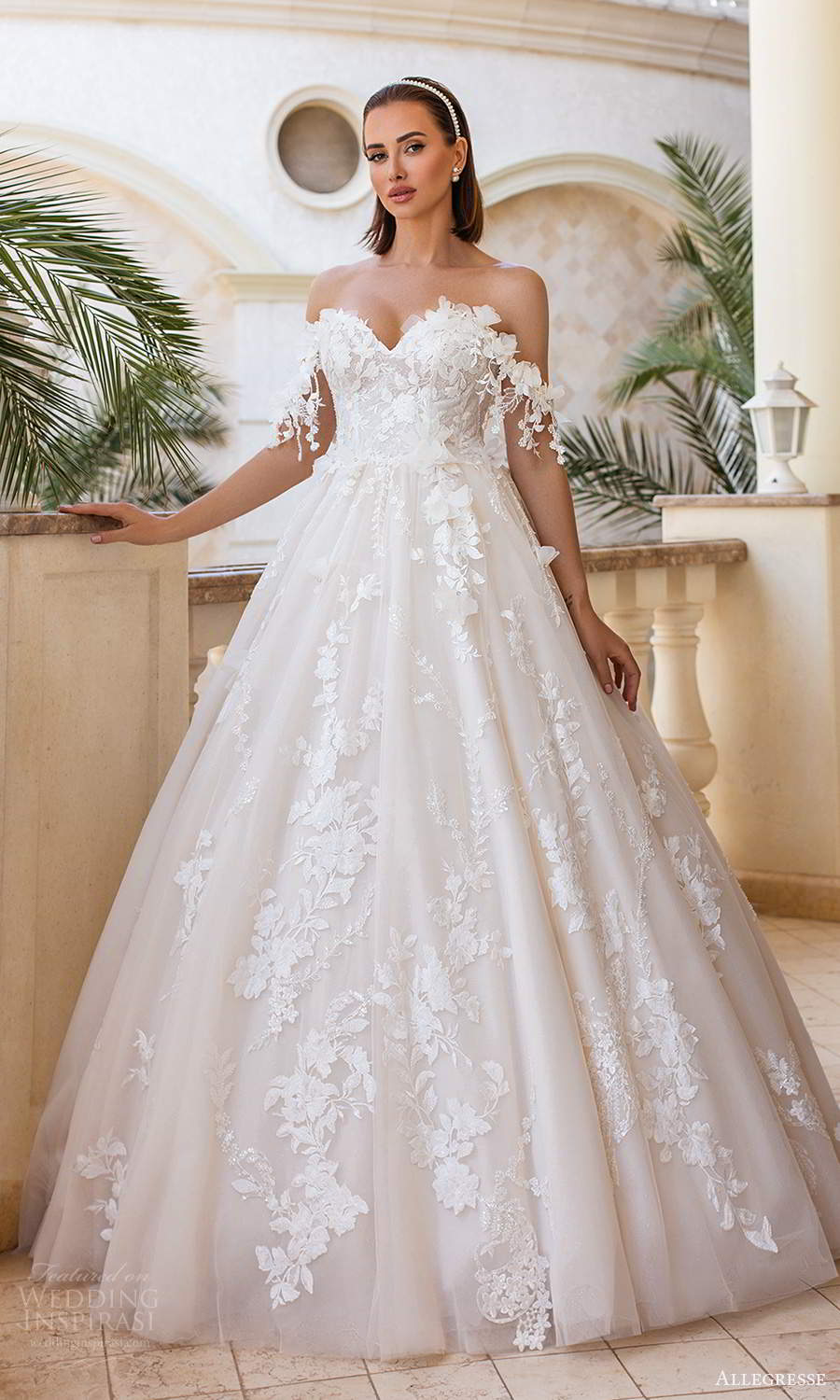 allegresse 2021 bridal off shoulder straps sweetheart neckline fully embellished a line ball gown wedding dress chapel train (15) mv