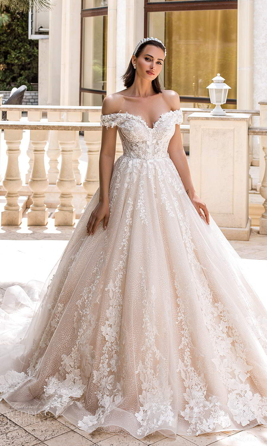 allegresse 2021 bridal off shoulder straps sweetheart neckline fully embellished a line ball gown wedding dress chapel train blush champagne (11) mv