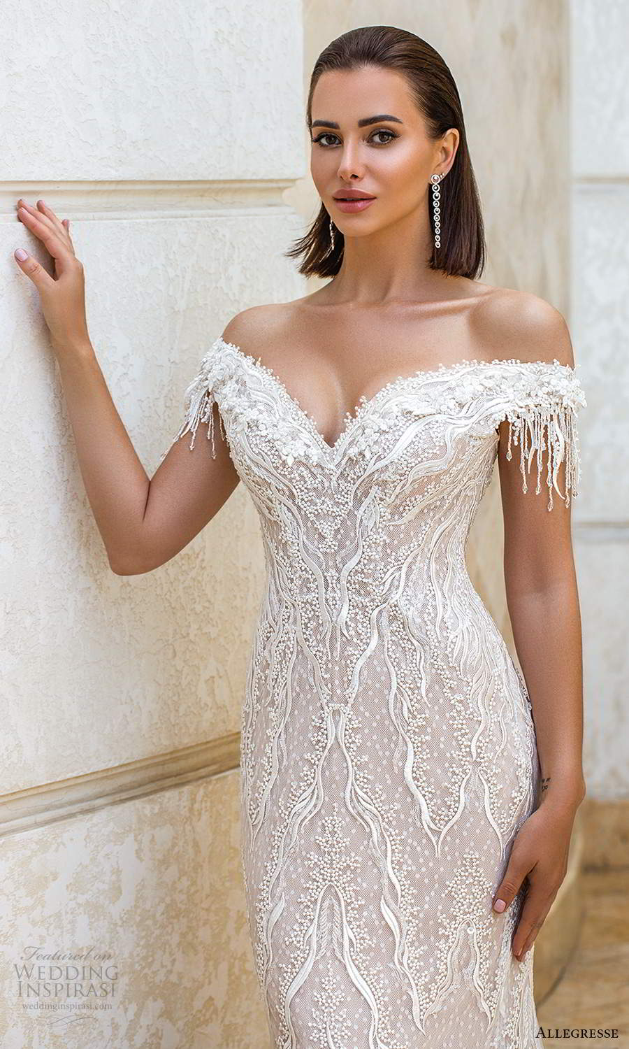 allegresse 2021 bridal off shoulder straps sweetheart neckline fully embellished fit flare sheath wedding dress chapel train blush (15) zv