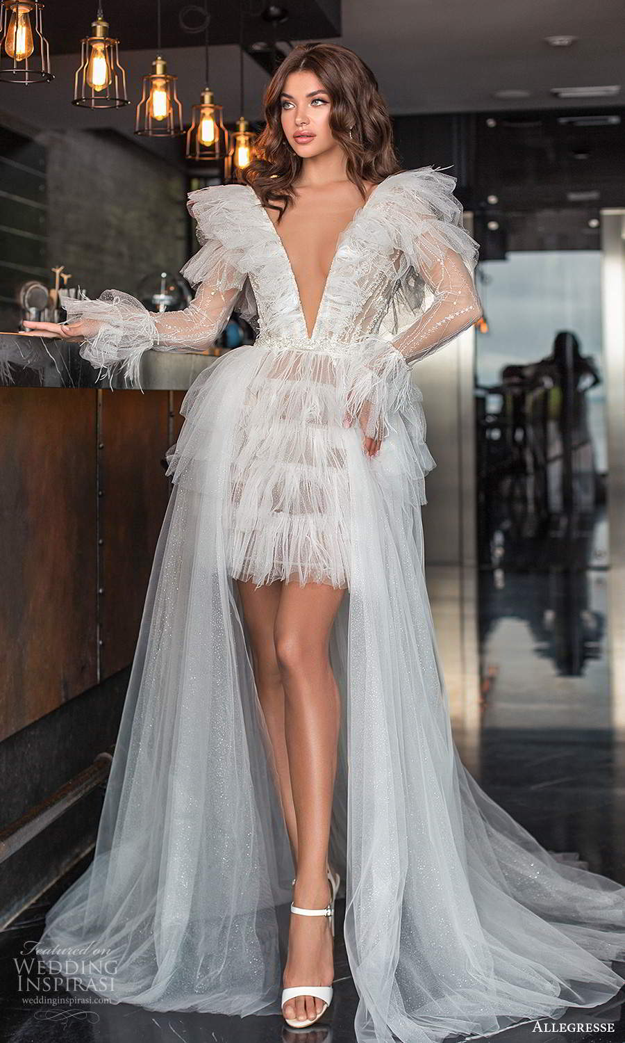 allegresse 2021 bridal sheer long sleeve plunging v neckline short wedding dress a line overskirt chapel train (1) mv