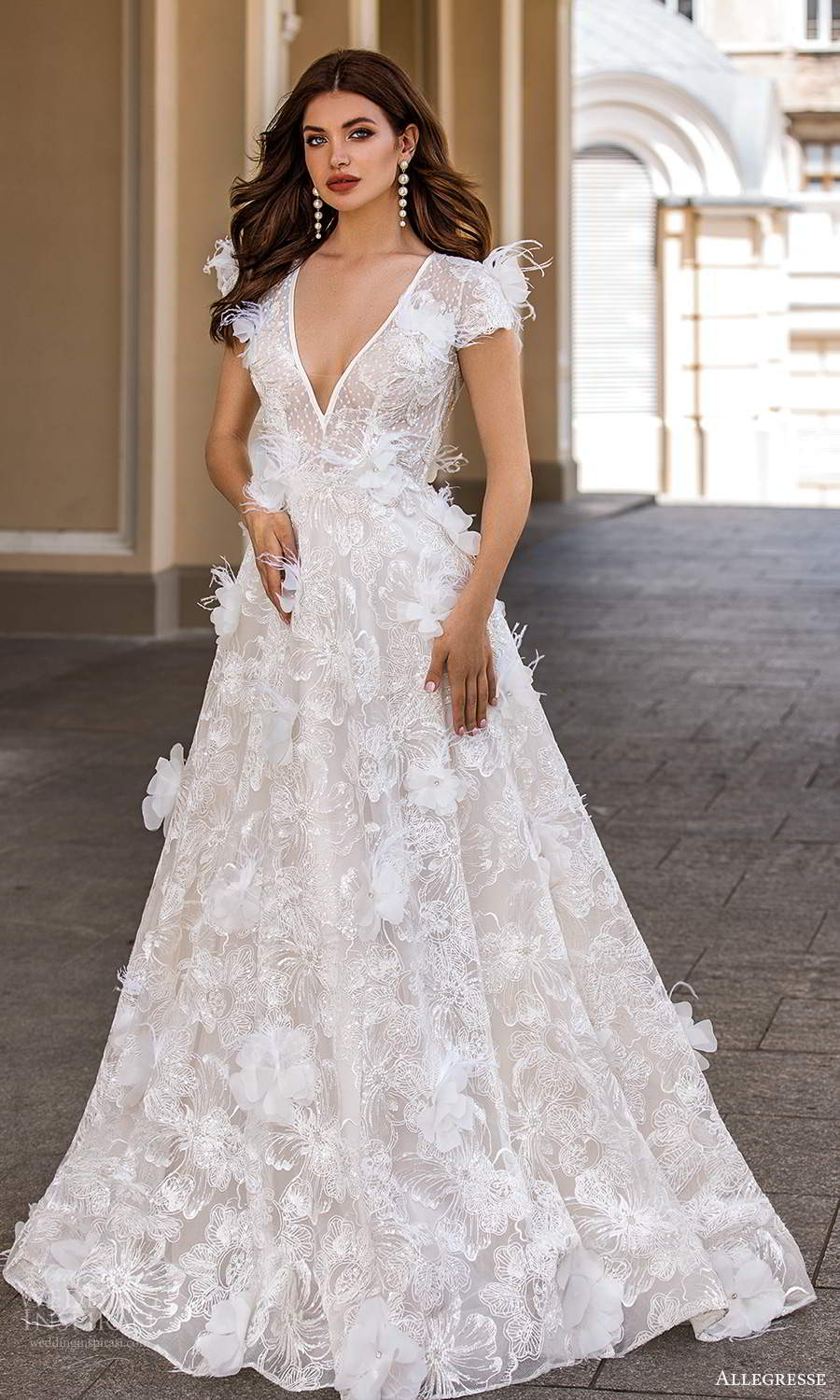 allegresse 2021 bridal short sleeves plunging v neckline fully embellished a line ball gown wedding dress chapel train (10) mv