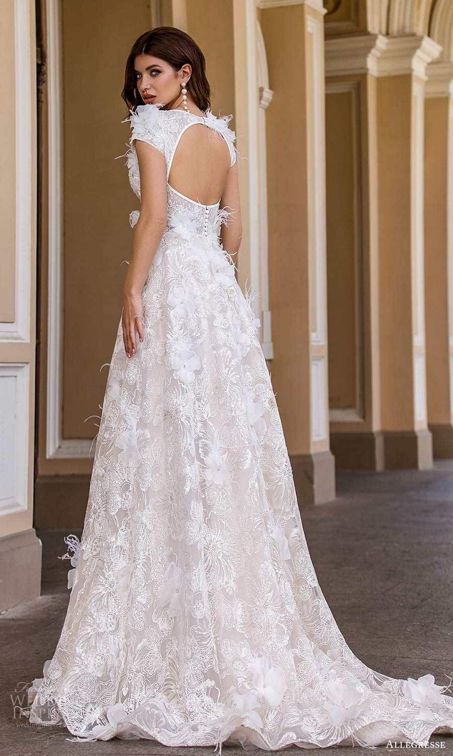 allegresse 2021 bridal short sleeves plunging v neckline fully embellished a line ball gown wedding dress chapel train keyhole back (10) bv
