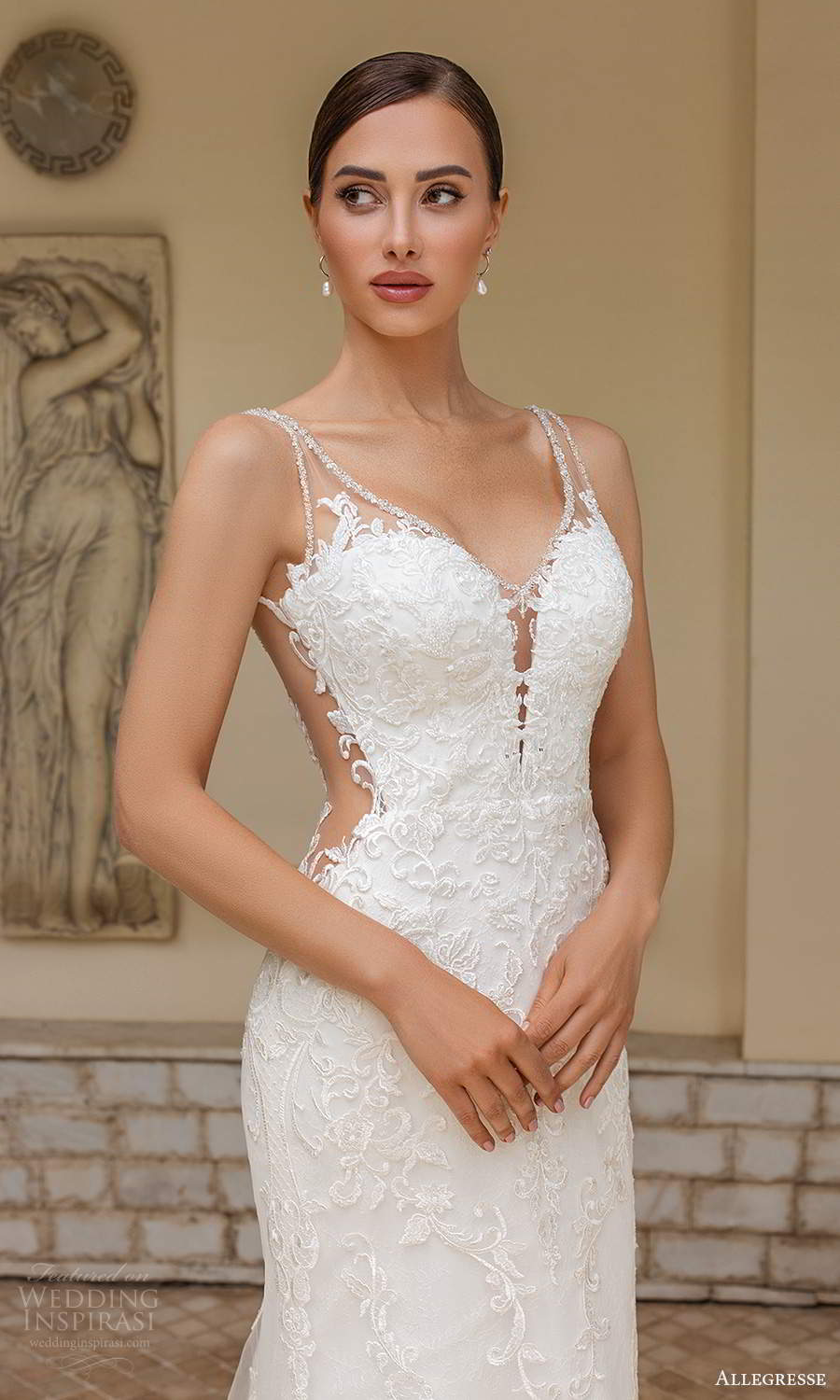 allegresse 2021 bridal sleeveless straps plunging sweetheart neckline fully embellished lace a line wedding dress chapel train illusion back (16) zv