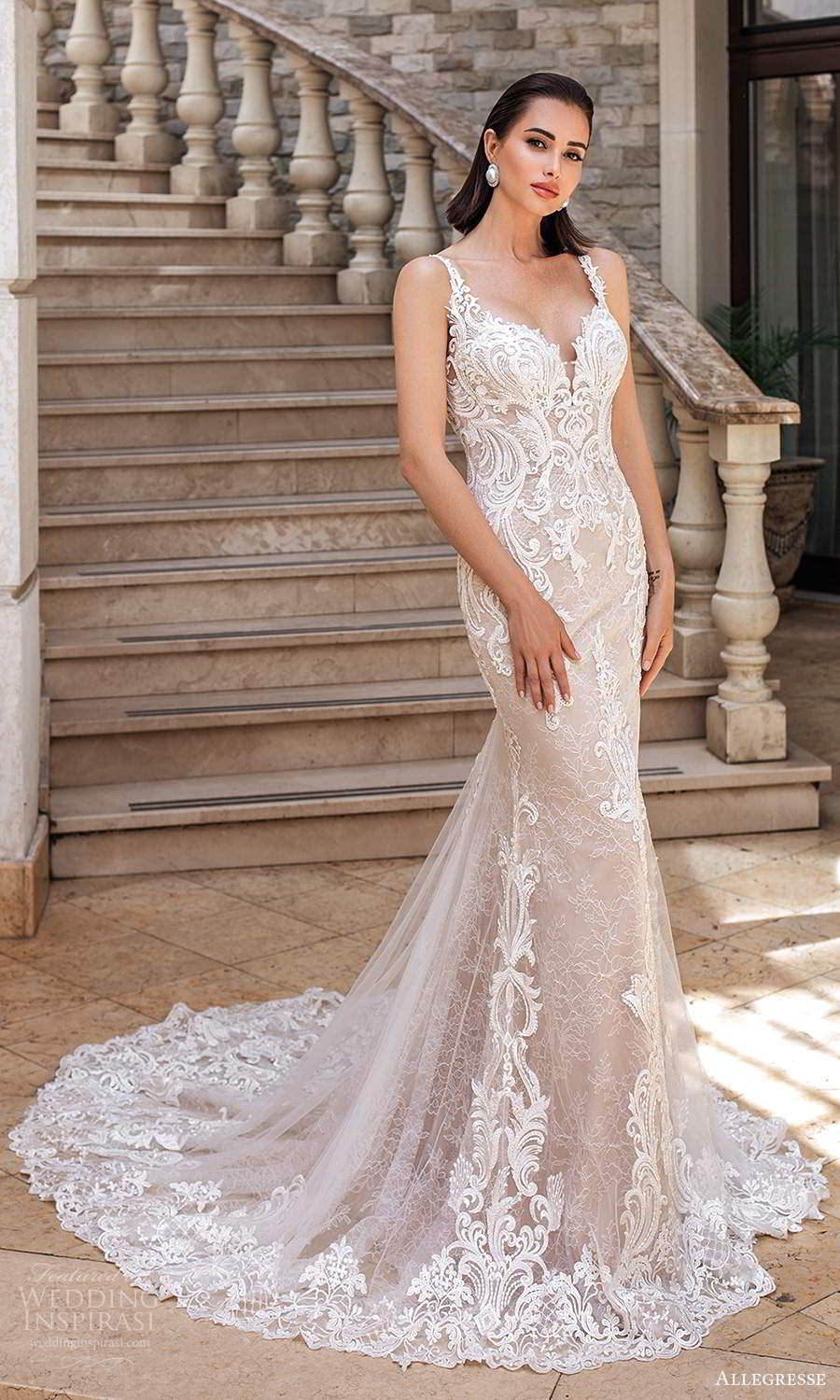 allegresse 2021 bridal sleeveless straps plunging sweetheart neckline fully embellished lace fit flare mermaid wedding dress chapel train blush (8) mv