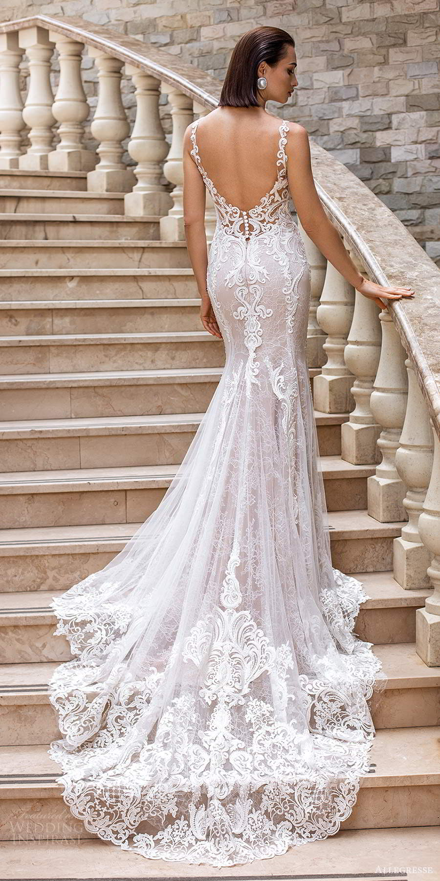 allegresse 2021 bridal sleeveless straps plunging sweetheart neckline fully embellished lace fit flare mermaid wedding dress chapel train blush scoop back (8) bv