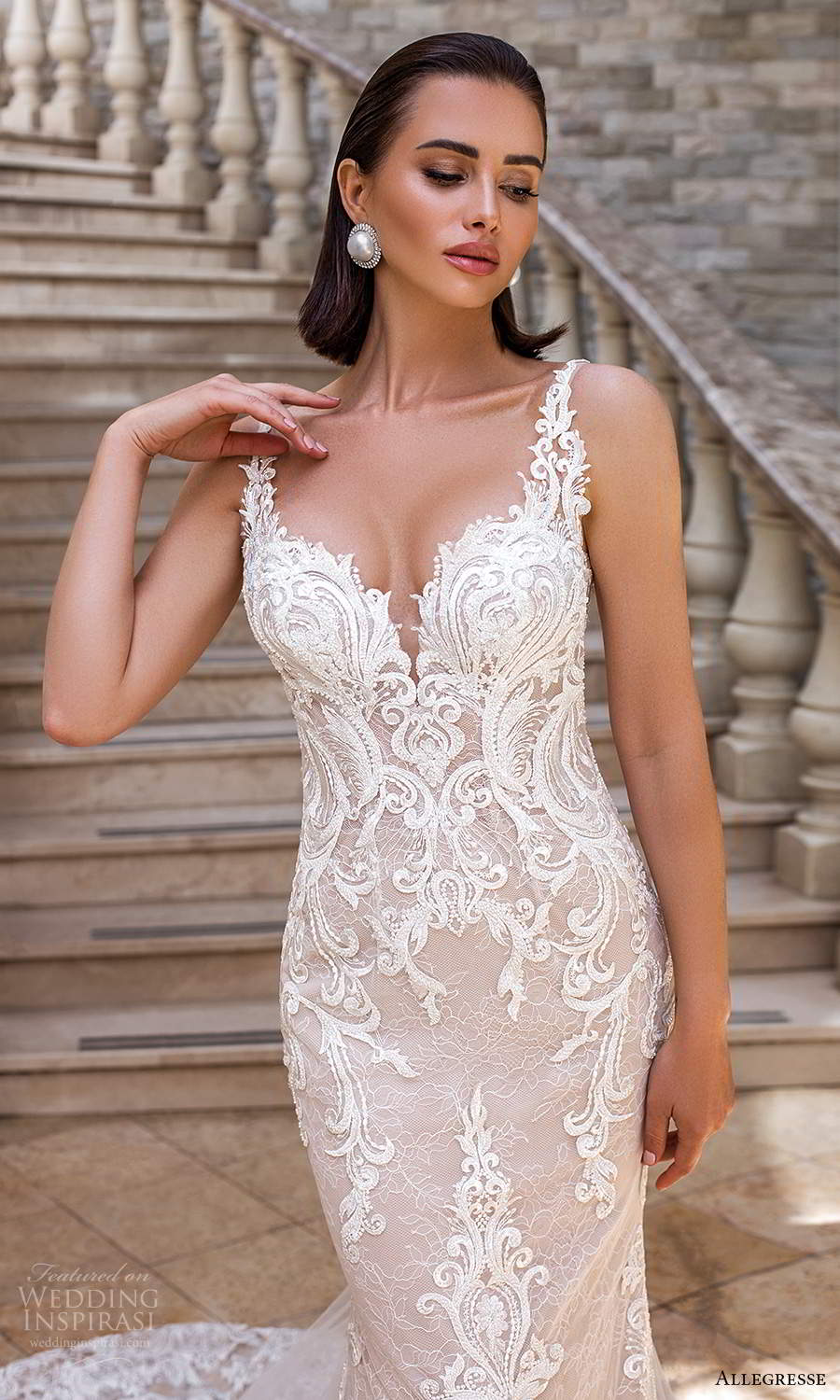 allegresse 2021 bridal sleeveless straps plunging sweetheart neckline fully embellished lace fit flare mermaid wedding dress chapel train blush scoop back (8) zv