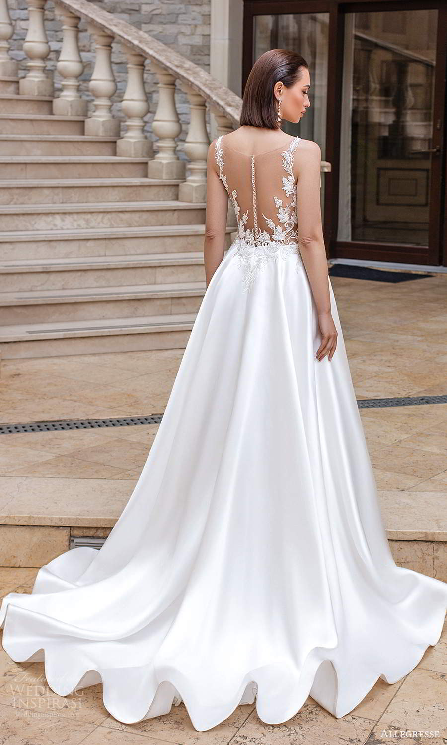 allegresse 2021 bridal sleeveless straps v neckline embellished bodice clean skirt a line ball gown wedding dress chapel train sheer back (7) bv