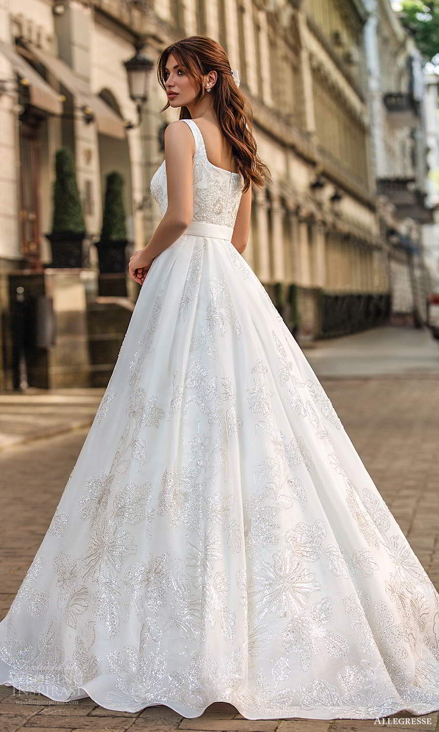 allegresse 2021 bridal sleeveless thick straps square neckline fully embellished a line ball gown wedding dress chapel train (6) bv