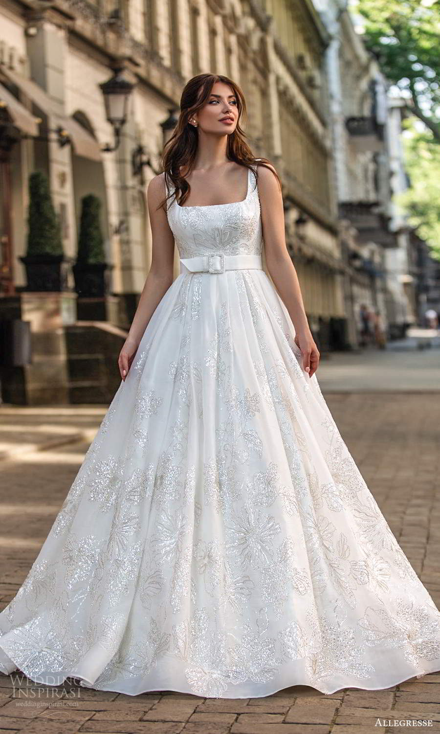 allegresse 2021 bridal sleeveless thick straps square neckline fully embellished a line ball gown wedding dress chapel train (6) mv