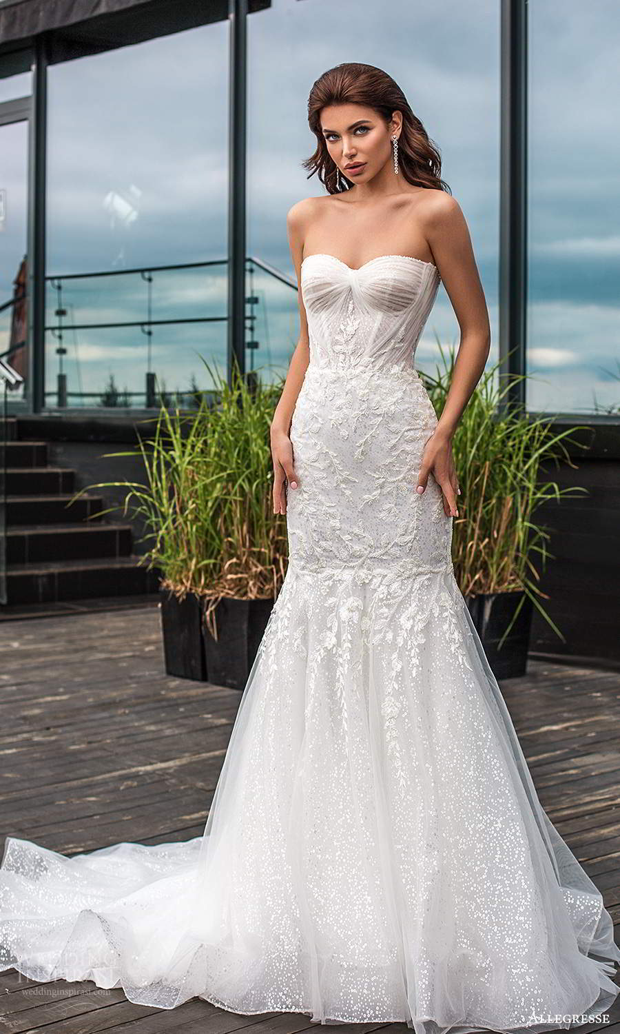 allegresse 2021 bridal strapless sweetheart neckline fully embellished fit flare wedding dress chapel train (4) mv