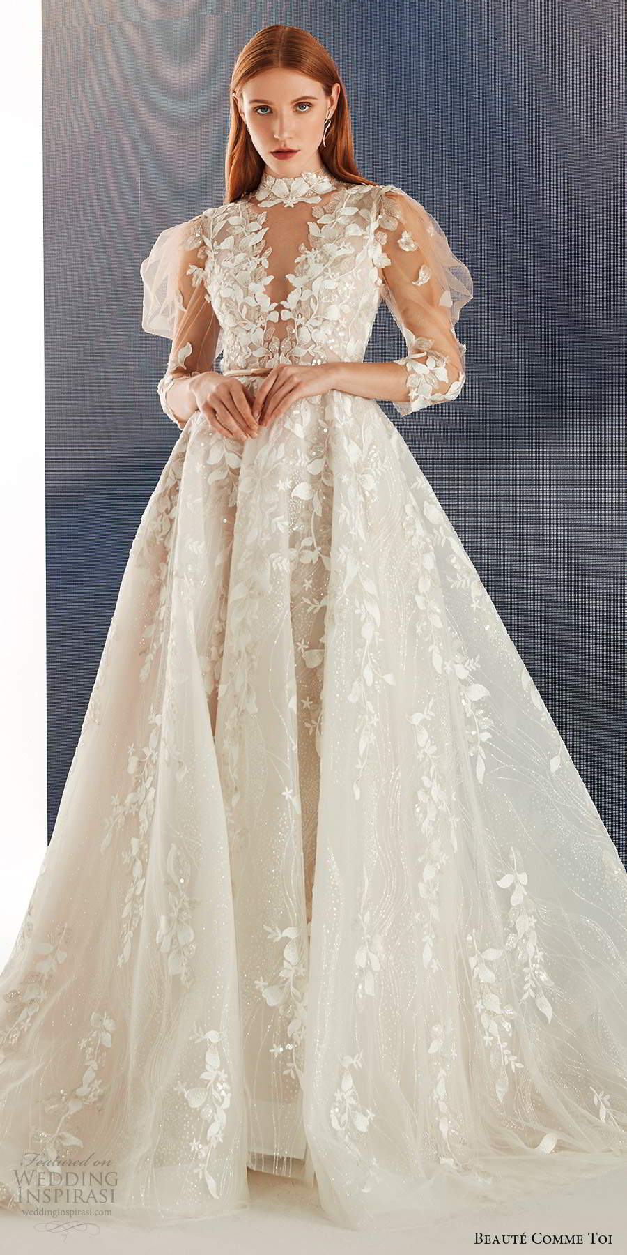 beaute comme toi fall 2021 bridal illusion puff sleeves high neckline cutout bodice fully embellished a line ball gown wedding dress chapel train (1) lv