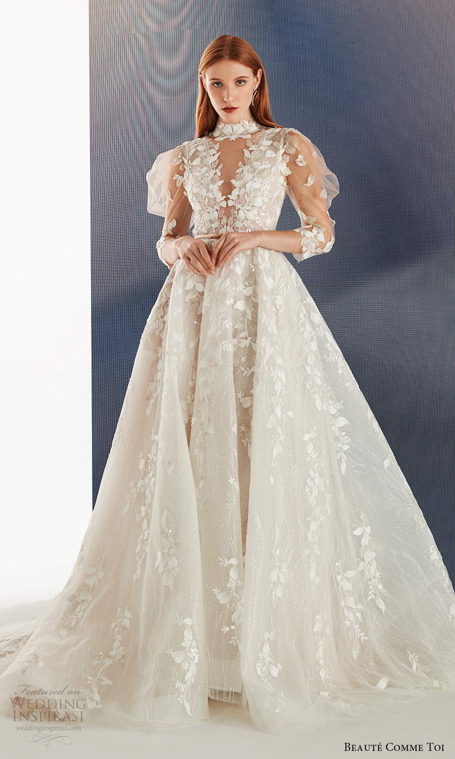 beaute comme toi fall 2021 bridal illusion puff sleeves high neckline cutout bodice fully embellished a line ball gown wedding dress chapel train (1) mv