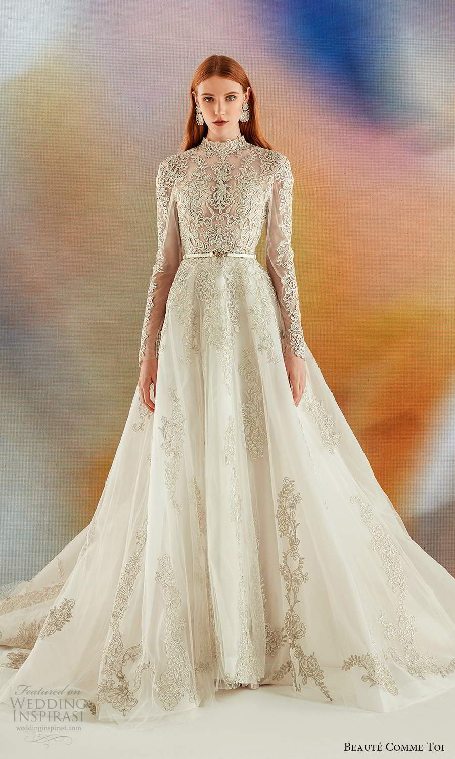 beaute comme toi fall 2021 bridal long sleeves high neckline fully embellished a line ball gown wedding dress chapel train gold (2) mv