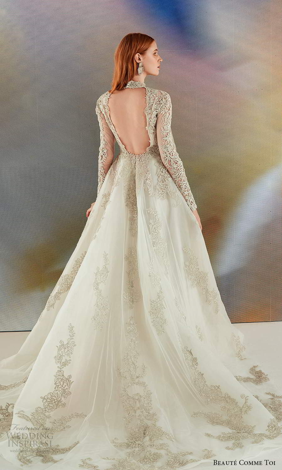 beaute comme toi fall 2021 bridal long sleeves high neckline fully embellished a line ball gown wedding dress chapel train gold keyhole back (2) bv
