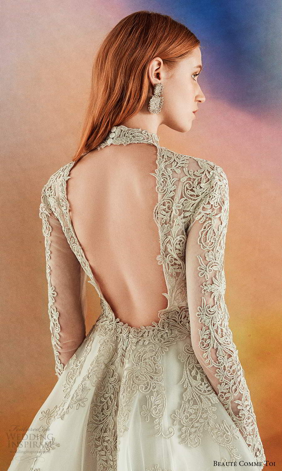 beaute comme toi fall 2021 bridal long sleeves high neckline fully embellished a line ball gown wedding dress chapel train gold keyhole back (2) zbv