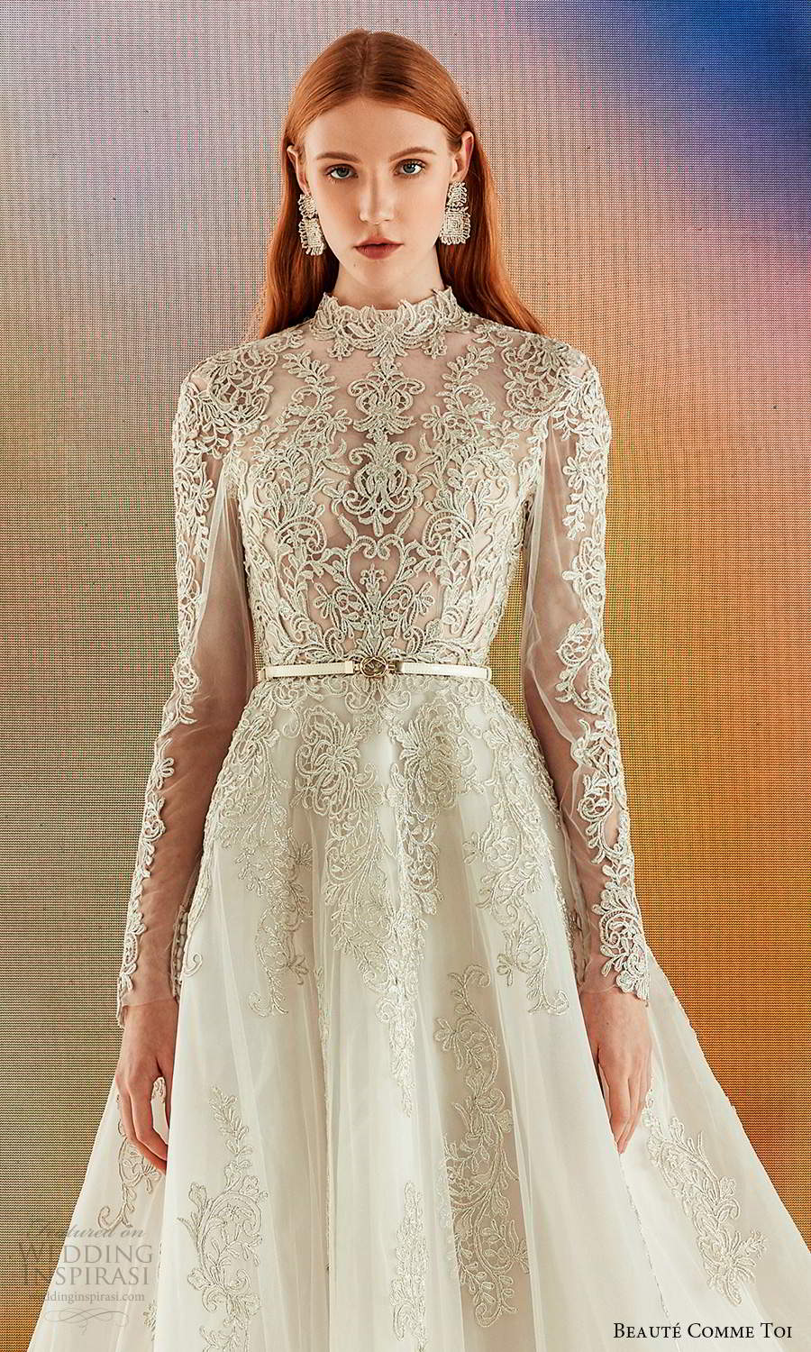 beaute comme toi fall 2021 bridal long sleeves high neckline fully embellished a line ball gown wedding dress chapel train gold keyhole back (2) zv