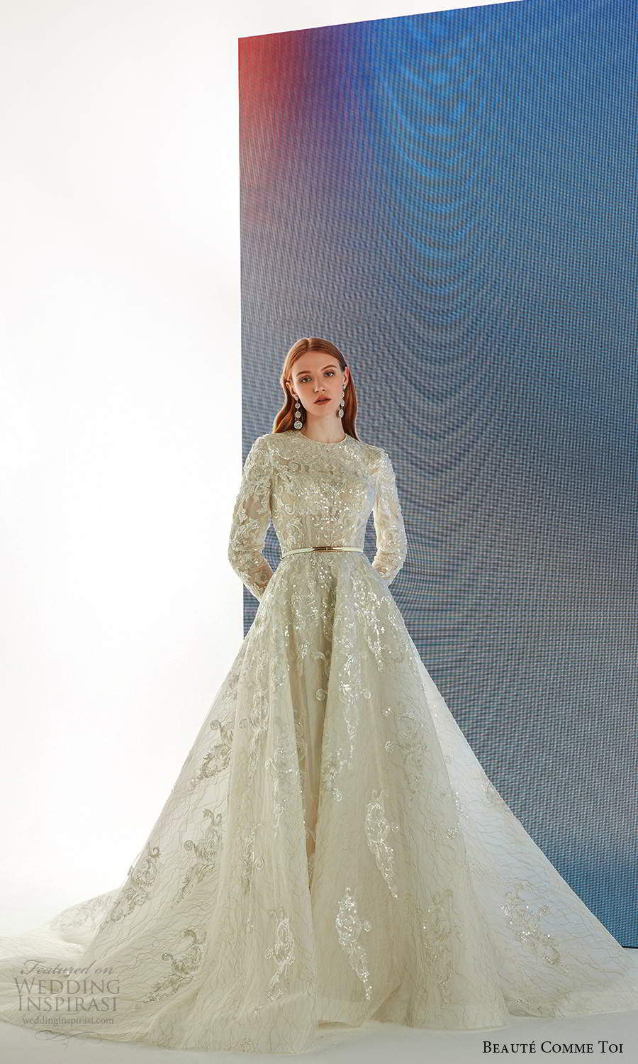 beaute comme toi fall 2021 bridal long sleeves jewel neckline fully embellished a line ball gown wedding dress chapel train (3) fv