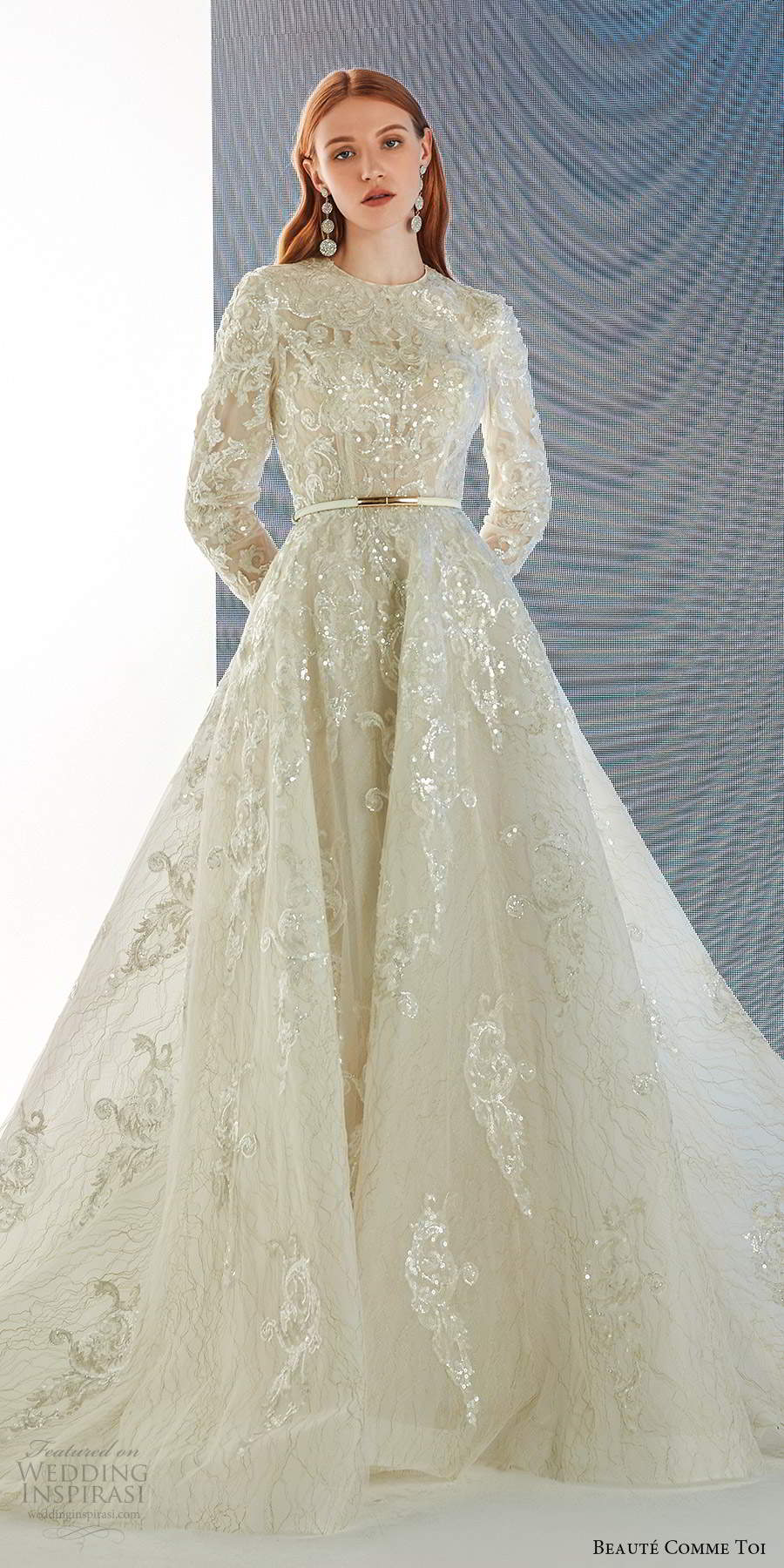 beaute comme toi fall 2021 bridal long sleeves jewel neckline fully embellished a line ball gown wedding dress chapel train (3) lv