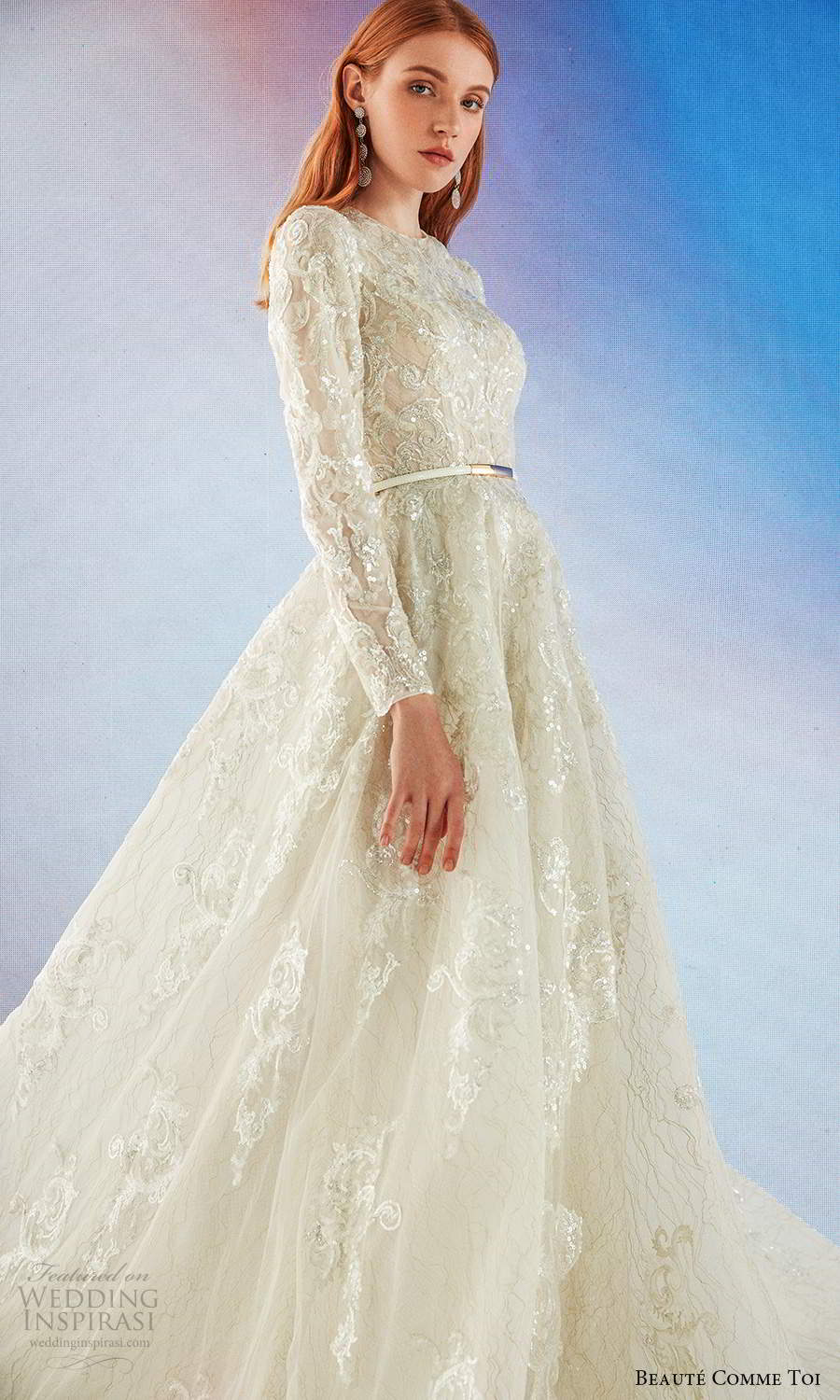 beaute comme toi fall 2021 bridal long sleeves jewel neckline fully embellished a line ball gown wedding dress chapel train (3) mv