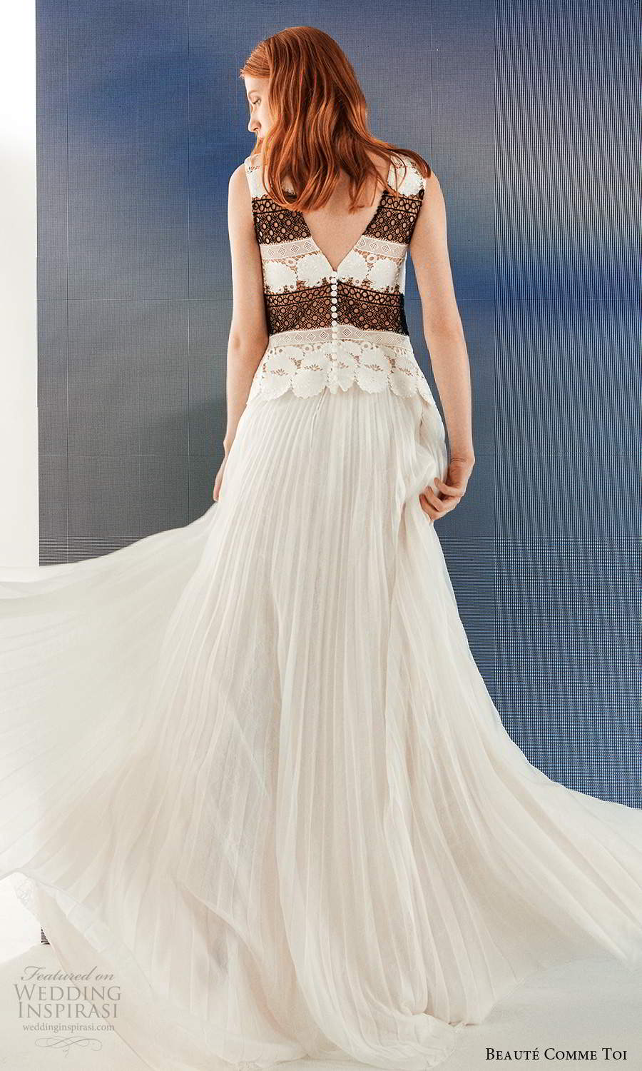 beaute comme toi fall 2021 bridal sleeveless thick straps bateau neckline embellished bodice pleated skirt a line wedding dress (7) bv