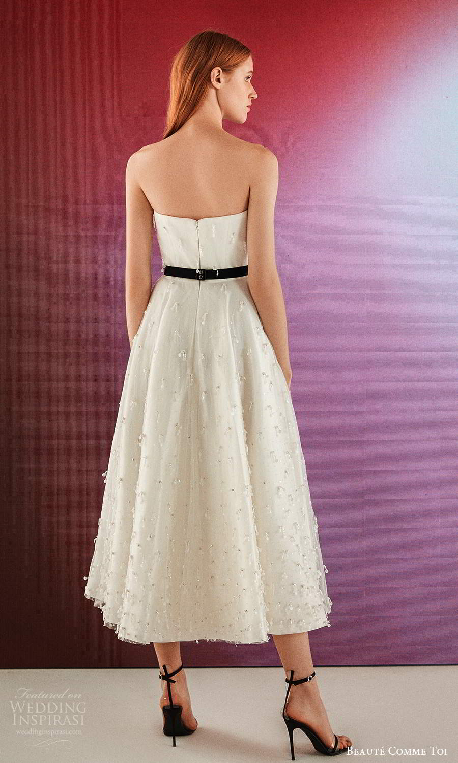 beaute comme toi fall 2021 bridal strapless straight across neckline embellished tea length a line wedding dress (8) bv